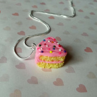 pink cake slice necklace