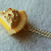 polymer clay lemon meringue pie necklace
