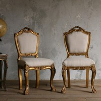 Lovely Set of Vintage Side Chairs in Gold Gilt