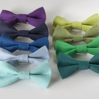 Linen Hair Bow / Clip on Bow-Tie - Cool Tones - Choose One