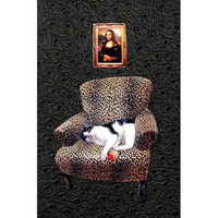cat collage mona lisa black leopard chair custom by PetCollage