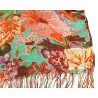 Sea Green Botanical Scarf