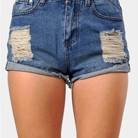 Lucas High Waist Shorts - Dark Blue at Necessary Clothing