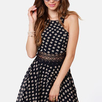 Lucca Couture Daisy Dear Navy Blue Floral Print Dress