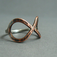 Copper and Silver Infinity Ring by JaneFont on Etsy
