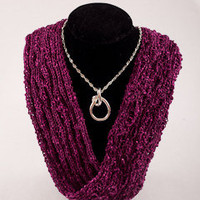 infinity short necklace scarf magenta