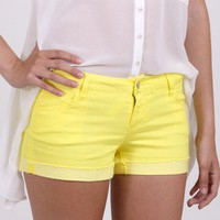 Yellow Denim Shorts by Celebrity Pink @ FrockCandy.com