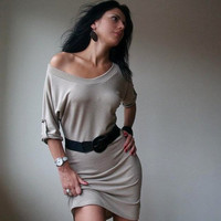 Womens Dress Beige Tunic Donation to UNICEF by marcellamoda