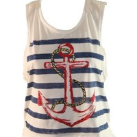 Amazon.com: White Tank Top w/ Navy Blue Stripes & Red Anchor and Rope Design: Clothing