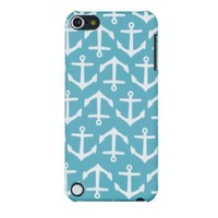 Nautical Anchor Embossed Hard Case for Apple iPod Touch 5, 5G (5th Generation) - Includes DandyCase Keychain Screen Cleaner [Retail Packaging by DandyCase]