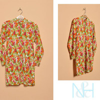 Vintage 1970s Indian Floral Blouse with Side Slits