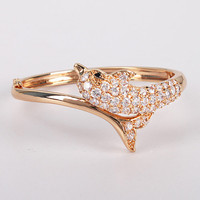 925 Sterling Silver Champaign Gold Dolphin Bangle Bracelet at Online Jewelry Store Gofavor