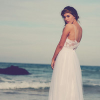 Stunning white lace and tulle wedding dress by Graceloveslace