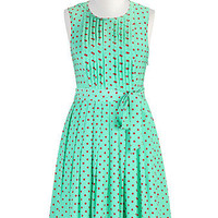 Vivid dot print crepe dress