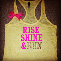 Rise Shine &amp; Run Burn out Racer-back Tank