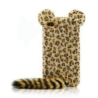 Cute Leopard Print Case with Panther Tail for iPhone