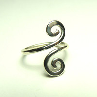 Curly wire ring - sterling silver wire gauge 16 - handmade hammered