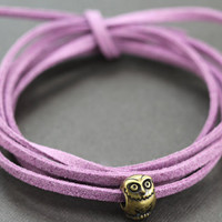 Owl Wrap Bracelet : Tie On Bohemian Lilac Leather Cord Wrap Bracelet with Bronze Owl Charm