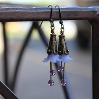 Flower Earrings : Purple Polymer Clay, Bronze, Beaded Dangle Earrings, Pretty, Elegant, Unique, Bohemian