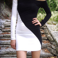 10% discount CUSTOM MADE So Sexy Feminine Super Tight Stretchy Mini Party Dress Eco Friendly Black & White Dress Off Shoulder By Cvetinka