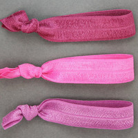 Ribbon Hair Elastics : Set of Three Elastic Ribbon Hair Ties, Ponytail, Bun, Top Knot, Bracelet, Pink, Berry, Fuchsia