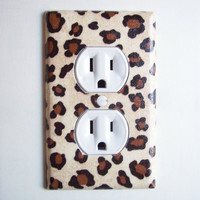 Leopard Animal Print Outlet Plate, wall decor switch plate