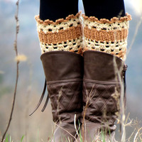 Caramel ivory Short Knit Boot Cuffs. Short Leg Warmers. Crochet Boot Cuffs. ivory Legwear