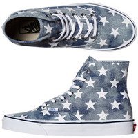 VANS WOMENS AUTHENTIC HI SHOE - WAHSED DENIM BLUE STARS