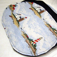 Nautical Placemats, Set of 4,  with Different Lighthouses Handmade  by Sewinggranny
