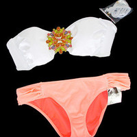 New Victoria&#x27;s Secret Jewel Bandeau White Orange Bikini Swimsuit S