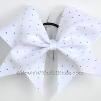 """3"""" Wide Luxury Cheer Bow - White w/Silver Sparkles"""