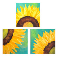 SUNFLOWERS ON TEAL, Set of 3 12x12 Abstract Paintings, Home and Office Wall Art