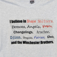 Supernatural Winchesters And Monsters Short Sleeved T-Shirt. Customize To Size And Color.