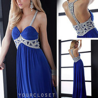 Gorgeous beaded halter evening dress - multicolor in from Your Closets