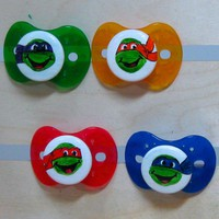 Teenage Mutant Ninja Turtle Hand-painted Pacifier Gift Set in NUK Style by PiquantDesigns