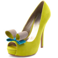Charlotte Russe - Pop-Up Bow Velvet Pump