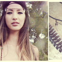 arise ... quartz crystal, leather and antiqued bronze chain bohemian feather headdress
