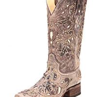 Corral Ladies Square Toe Brown Crater Bone Inlay And Studs Western Boot