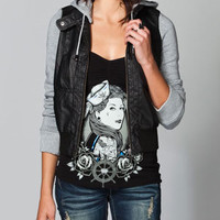 THERAPY Faux Leather Womens Hooded Jacket