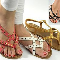 Womens Sandals Strappy Thong Gladiator Flat Sandal in  Lt Coral White Lt Tan NEW