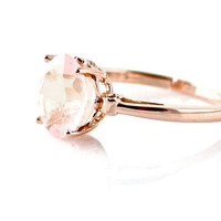 14K Rose Gold Ring Rose Quartz Custom Gemstone Ring 14K White Yellow Rose Gold Fleur de Lis