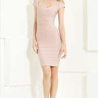 Herve Leger Cap Crisscrossed Sleeve Bandage Dress - &amp;#36;269.00