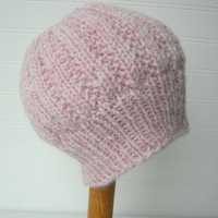 Hand Knit Spring Hat in Pale PINK Peony by WindyCityKnits on Etsy