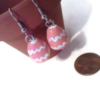 Easter Egg Earrings, Polymer Clay Charms, Chevron, Coral Earrings, Easter Gift Ideas, Pastels, Holiday Gifts, Easter Dangles, Easter Eggs