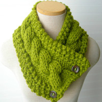 Windy City Cabled Cowl in LEMONGRASS Ready to by WindyCityKnits