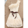 Floral A Line White Chiffon Mini Dress 3 colors