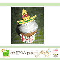 Mexican Fiesta PRINTABLE personalized cupcake by labarradulce