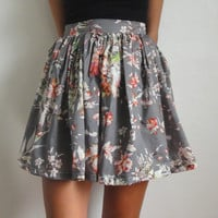 100 cotton high waisted floral skirt by CodyFarrago on Etsy