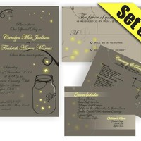 Printable Mason Jar Fireflies Wedding Suite Invitation RSVP Direction And Menu Inserts