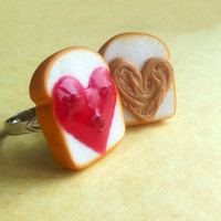 heart shaped strawberry peanut butter and jelly best friend rings polymer clay bff